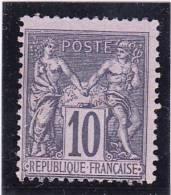 FRANCE    1877-80  Y.T. N° 89  Noir Sur Lilas  NEUF*  Sans Gomme - 1876-1898 Sage (Type II)