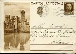 Italia,  Stationery Entier Ganzsache,  Sirmione  Il Castello  Circuled - 4. 1944-45 Repubblica Sociale