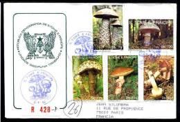 SAINT THOMAS ET PRINCE 1992, ENVELOPPE FDC PREMIER JOUR CHAMPIGNONS, Enveloppe Ayant Circulé. - Pilze
