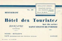 SAINT-VINCENT-DE-TYROSSE HOTEL DES TOURISTES BOURTAYRE PROPRIETAIRE 40 LANDES - Visiting Cards