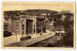EUROPE BOSNIA SARAJEVO THE CITY HALL THE TRAM Nr. 416 OLD POSTCARD - Bosnia And Herzegovina
