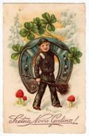 NEW YEAR BOY HORSESHOE MUSHROOMS CLOVER L&P Nr. 2877 OLD POSTCARD 1934. - New Year
