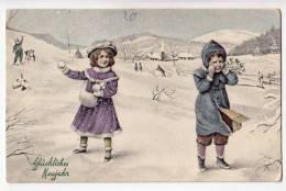 NEW YEAR CHILDREN IN SNOW V.K. VIENNE Nr. 5259 OLD POSTCARD - New Year