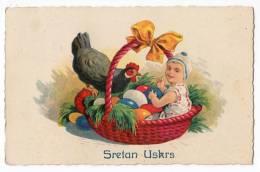 EASTER GIRL CHICKEN EGGS BASKET Nr. 621 OLD POSTCARD - Easter