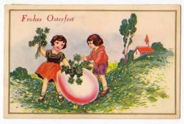 EASTER GIRLS BIG EGG FLOWERS Nr. 495 OLD POSTCARD - Easter