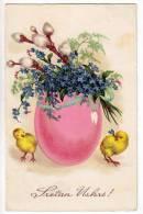 EASTER CHICKEN BIG EGG FLOWERS WSBS Nr. 4330/31 OLD POSTCARD 1934. - Easter