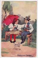EASTER CHILDREN FLOWERS UMBRELLA TOY Nr. 1069 OLD POSTCARD - Easter