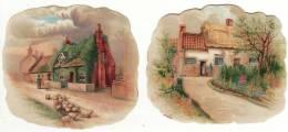 CHROMO Légèrement Gaufrée (2 Chromos) Maison Village Troupeau De Moutons Paysan - Unclassified