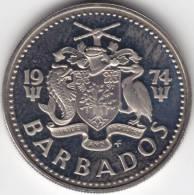 @Y@   Barbados  25 Cent 1974    PROOF    (C362) - Barbados