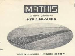 AUTOMOBILES   Facture MATHIS Avec VIGNETTE à Strasbourg Du 22 Septembre 1926 à Mr Léon LAURY à Paris - France