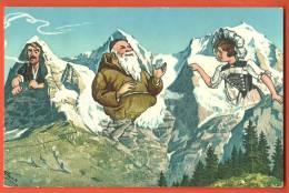 C1259 Litho Eiger Mönch Jungfrau. Humor. Gelaufen 1956. Photoglob-Wehrli 2058 - BE Bern