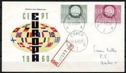 BE   FDC  1150 - 1151    ----   Europa 1960  --  Circulé Et Posté Avec Recommandé... - FDC