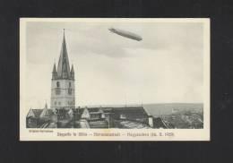 Romania PPC Zeppelin In Sibiu Hermannstadt 1929 (2) - Rumänien