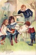 Cpa Fantaisie; Joyeuses Pâques – Enfants & Mouton, Fontaine (gaufrée) - Autres
