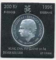 "RARE 200 Kronor Argent 1996   27 Gr 36 Mm "" 50 Th. Birthday Of King Carl XVI Gustaf  "" - Sweden"
