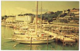 MACKINAC ISLAND MI ~NEW YACHT PIER ~1960s Vintage Postcard ~SAILING BOATS~RACING  [3313] - United States