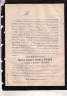 BRAINE LE CHATEAU Comtesse Douairière Eugène De ROBIANO Née LE BRUM De MIRAUMONT D´OSTREGNIES 1787-1877 Faire-part - Décès
