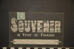 51 / SOUVENIR DE VITRY LE FRANCOIS   Multivues Dans Des Grosses Lettres    EDITIONS MOUSSALLI  VOYAGEE 1905 - Vitry-le-François