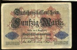 5 August 1914  50 Mark   Bon état - [ 2] 1871-1918 : Empire Allemand
