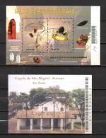 BRESIL BLOCS FEUILLETS N° 114 ET 122 (o)(YT) PIERRES PRECIEUSES, CHAPELLE ST MICHEL SO PAULO - Blocks & Kleinbögen