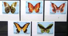 SHARJAH Papillons. (michel 1018/22B) NON DENTELE; IMPERFORATE; Neuf Sans Charniere **. MNH - Mariposas