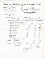 FACTURE  Des Ets Auguste PEGUESSE - Bois Et Matériaux De Construction à AMANCE (70) - France