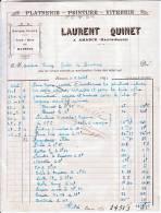 FACTURE  Des Ets Laurent  QUINET, Plâtrerie, Peinture, Vitrerie à AMANCE (70) - Petits Métiers