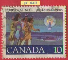1977  - Amérique Du Nord - Canada - Noël - Gouache De R.G. White - 10 C. Trois Chasseurs Indiens Suivant L'étoile - - 1952-.... Règne D'Elizabeth II