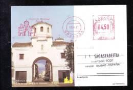 GRANADA, PUERTA DE LOJO, SANTA FE, CACHET RED ON POSTCARD, 04,05 PST, 1987, ESPANA - Marcas De Censura Nacional
