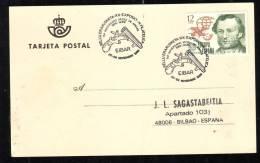 EXPOSITION FILATELICA, GUN, CACHET ON POSTCARD, 1989, ESPANA - Marcas De Censura Nacional