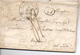 F265  Carpentras Vaucluse Type 12  De 1838 Et Décime Rural (posté De Saint Didier) - 1801-1848: Precursors XIX