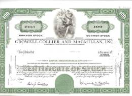 Actions & Titres- Emetteur : CROWELL CROLLIER And MACMILLAN, INC (100*)-Books,Dictionary-livres-Dictionnaires - A - C