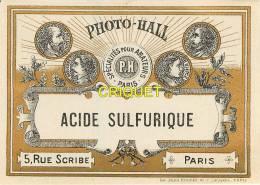 Etiquette Dorée Avec Médailles, Photo-Hall à Paris, Acide Sulfurique - Publicités