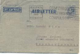 AUSTRALIE AIRLETTER OMec SYDNEY 22 AUG 1949 - Aerogrammes