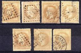 15.11.1867  Kaiser Napoleon III. 7 Stück Gem. Scan Mit Lorbeerkranz  Mi-Nr. 27 , Gestempelt, Lot 25181 - 1863-1870 Napoléon III. Laure