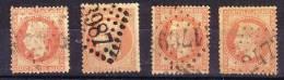1862/70  Kaiser Napoleon III. Mit Lorbeerkranz  Mi-Nr. 30  4 Stück Gem. Scan, Gestempelt, Lot 25184 - 1863-1870 Napoléon III. Laure