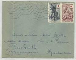 1956 - ENVELOPPE DE AUXERRE- TIMBRES CROIX ROUGE