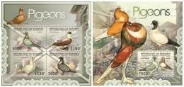 BURUNDI 2012 - Pigeons M/S + S/S. Official Issue - Burundi
