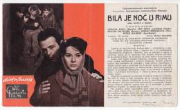 """PROGRAMS FILM """"IT WAS THE NIGHT IN ROME"""" ITALY FILM ACTRESS GIOVANA RALL DISTRIBUTED BY CROATIA FILM SIZE 24,5X15 CM - Programs"""