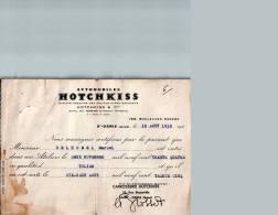 Entête Du 19/08/1935 Automobiles HOTCHKISS - Certificat De Travail - Saint-Denis-sur-Seine - Cars