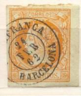Año 1860 Edifil 52 4c  Sello Isabel II Matasellos Villafranca  Barcelona - 1850-68 Royaume: Isabelle II