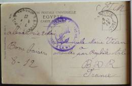Litho Chromo Illustrateur Zulla Egypte Alexandrie Cairo 1922 Flamme SM Marine Francaise Service A La Mer Vers Vian - Alexandria