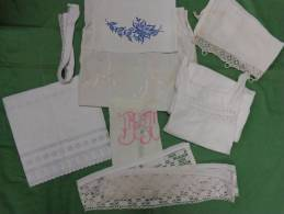 Lot   Linge -napperon-monogramme DT -MB -chemise -dentelle6BRODERIE ANGLAISE Etc...PHOTO 989 - Unclassified