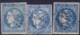 3 Nuances Du 20c Bordeaux N° 46B (bleu Clair+bleu+bleu Foncé, Cote +120€) - 1870 Bordeaux Printing