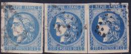 3 Nuances Du 20c Bordeaux N° 46B TB Et Très Bien Margés (bleu Clair+bleu+bleu Foncé, Cote +120€) - 1870 Emission De Bordeaux