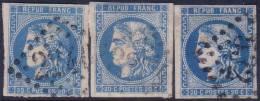 3 Nuances Du 20c Bordeaux N° 46B (bleu Clair+bleu+bleu Foncé, Cote +120€) - 1870 Emission De Bordeaux