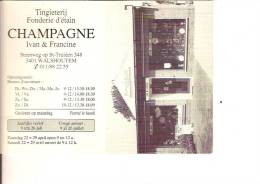 -WALSHOUTEM-CALENDRIER 1995-FONDERIE D'ETAIN -TINGIETERIJ CHAMPAGNE-steenweg Op St-Truiden - Calendarios