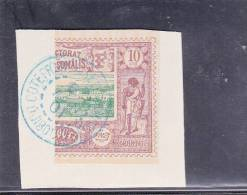 COTE DES SOMALIS - YVERT N° 10b * 1/2 TIMBRE OBLITERE SUR FRAGMENT - COTE = 30 EUR. - Used Stamps