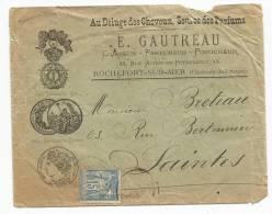 - Lettre - CHARENTE INFERIEURE - ROCHEFORT SUR MER - Càd S/TP Type Sage N° - Lettre Et Enveloppe Décorées - 1898 - 1876-1898 Sage (Tipo II)