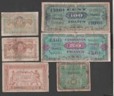 France - Trésor -  Lot De 6 Billets  ( 1 Fr, 5 Et 10 Frs Et Libération  2 Frs  50 Et 100 Frs )   TRES USAGES - Trésor